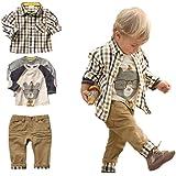 Conjunto de 3 piezas, camiseta, camisa a cuadros y pantalones color kaki, para niños de entre 1 y 5 años, marca Sopo Marrón m