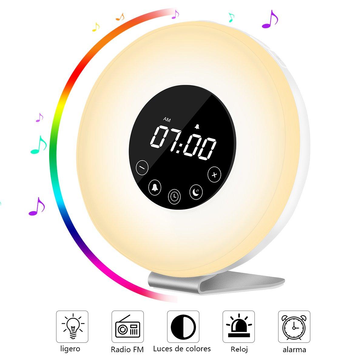 Wake Up Light Despertador con Luz – AUELEK LED Lámpara Luces-despertador, Simulación de Amanecer y Atardece, Función Snooze, 7 Luces LED de Colores, Radio FM, 6 Sonidos Naturales,10 Niveles de Brillo
