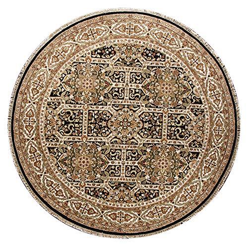 Rugsville Dynasty Persischer Teppich, traditionell, handgefertigt, rund, 2,4 x 2,4 m, Schwarz/elfenbeinfarben -