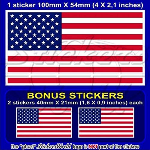 United States Amérique USA drapeau américain 10,2 cm Bumper Sticker en vinyle (100 mm), en x1 + 2 Bonus