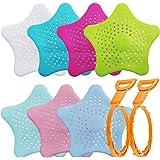 Collecteur de cheveux en silicone 7 pièces avec 2 débouchoirs pour cheveux, couvercles de douche AIFUDA Filtre pour évier pou