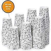 120 Vasos Desechables de Café para Llevar - Vasos Carton 360 ML 12 Onzas para Servir el Café, el Té, Bebidas Calientes y Frías