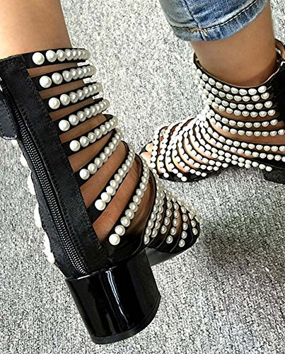 ... L&Y Stivali a punta aperta delle donne Sandali a basso tacco Stivali in rilievo  Handmade Charming ...