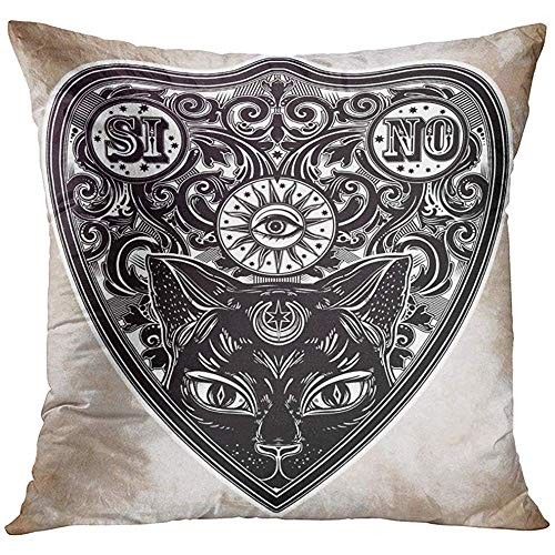 wenyige8216 Aged Vintage Magic Ouija Board Oracle Black Cat Head Portrait Antique Boho Chic Halloween and Tattoo Decorative Pillowcases Throw Cushion Covers for Sofa and Couch 45 x 45 cm (Cat Halloween Black Tattoo)