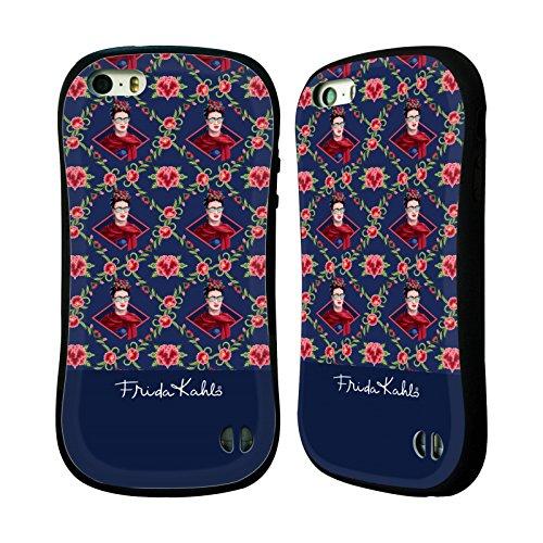 Ufficiale Frida Kahlo Marrone Ritratti E Pattern Case Ibrida per Apple iPhone 6 Plus / 6s Plus Blu