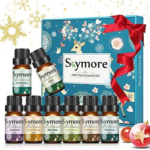 Skymore Ätherische Öle Set, Aromatherapie Duftöl Aromaöle für Diffusor, Luftbefeuchter, Massage, 8 x 10 ml (Zitronengras, Lavendel, Teebaum, Eukalyptus, Orange, Minze, Weihrauch, Rosmarin)