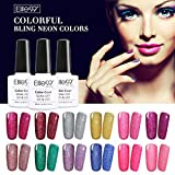 Elite99 12pcs Kit de Esmalte de Uñas de Gel UV LED Color Brillante Semipermanente Base Coat Top Coat Manicura y Pedicura
