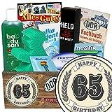 Geschenke zum 65 Geburtstag Mann lustig | Pflegeset | Geschenke zum 65. | Pflegebox | Geschenk Set | mit Badusan, Held der Arbeit Duschbad, Ampelmann Badeschwamm und mehr