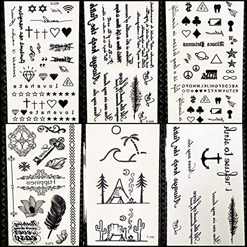 Lihaohao adesivi tatuaggio temporaneo stile estivo litter da campeggio lettera piuma bambini finger falso tatuaggio ragazzi body arm art love paste10.5x6cm 6pc