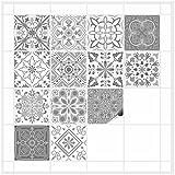 FoLIESEN Fliesenaufkleber für Bad und Küche - 15x15 cm - Patchwork 4 - 16 Fliesensticker für Wandfliesen