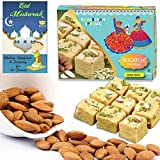 #9: BOGATCHI Eid Mubarak Gift Pack, Premium Eid Special Gift for friends, Sweets for Eid, Traditional Soan Papdi (250g)+ Roasted Almonds (100g) + FREE Eid Mubarak Greeting Card