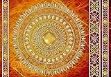 Welt-der-Träume Fototapete Tapete Wandbild Golden Mandala in Rot | P4 (254cm. x 184cm.) | Photo Wallpaper Mural 10119P4-MS | Mandala Ndien Indisch Orient Orientalisch Gold