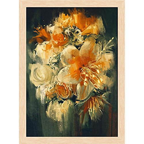 ArtzFolio Bouquet Flowers Canvas Painting Natural Brown Wood Frame 16 X 21.8Inch Bouquet Natural Wood