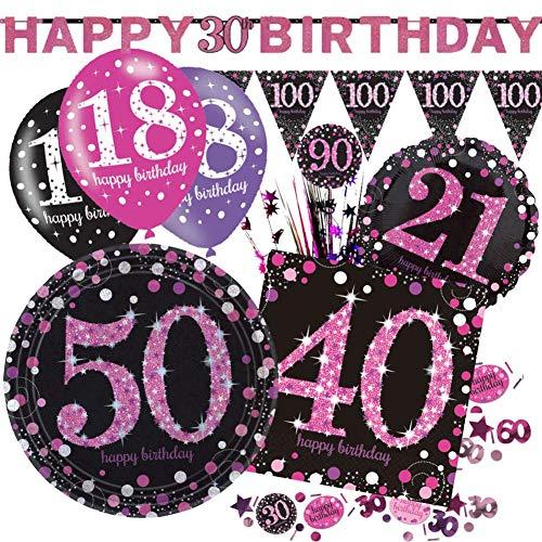 Party-Serie, Partyzubehör, Ballons, Banner und Dekorationen, Pink, 6 X 11 Latex Balloons (27cm), Age 80/80th Birthday