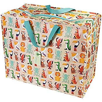 05b41547236 dotcomgiftshop Large Storage Bag with Zip - Strong and Durable 55 x 48 x  28cm 70l - Jungle Animals Print