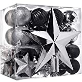 WeRChristmas - Set di decorazioni natalizie, 42 pezzi tra cui palline, punta per albero di Natale e ghirlanda argento/nero