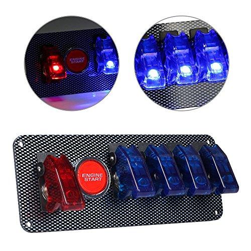 LTC ® - Pannello di accensione con pulsanti e coperchio di protezione, 12 V, fai da te, accessorio per auto sportiva da corsa, con indicatore LED rosso