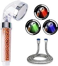 Led Duschkopf mit Schlauch-CNASA Led Duschkopf Temperatur für Spa-Duschen, 3 Farbwechsel, Wassersparend und Hochdruck