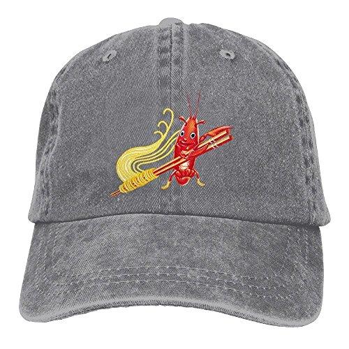 Langusten Nudeln Denim Baseball Kappen Hat verstellbar Baumwolle Sport Cap für Männer Frauen Einheitsgröße asche (Nudel Mann Kostüm)