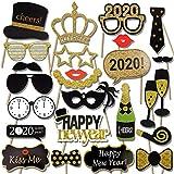 HOWAF 2020 Neujahr Fotorequisiten Fotoaccessoires (21Pcs), Silvester Photo Booth Props Verkleidung Mitbringsel Maske Party Zubehör für Erwachsene Kinder Silvester Deko 2020 Silvester Party Dekoration