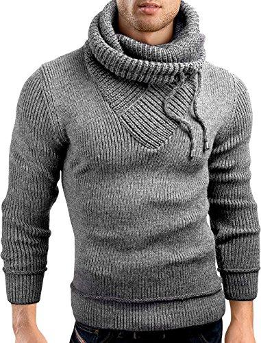 Grin&Bear slim fit Schalkragen Pullover Grobstrick Strickjacke Herren, grau meliert, M, GEC555