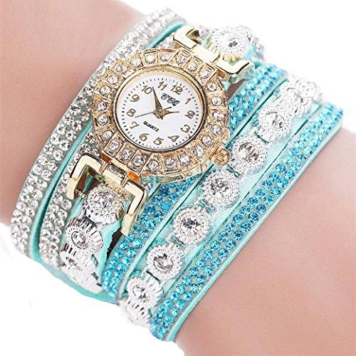 Vovotrade Guarda il braccialetto di modo nuove donne di modo casuale analogico al quarzo donne strass Mint Green