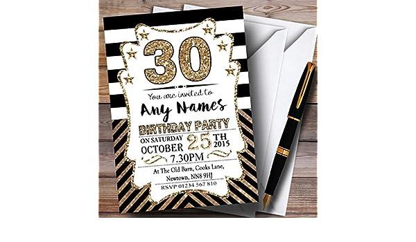 Black & white bronzo galloni 30th inviti per festa di compleanno 20