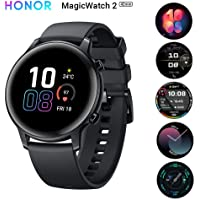 HONOR Magic Watch 2 (42 mm, Agate Black) Smart Watch AMOLED Touch Screen, 15 Workout Modes, GPS, Music Playback, Sleep Monitor, HR Monitor, Smart Assistant, Personalized Watch Face, 5 ATM Waterproof