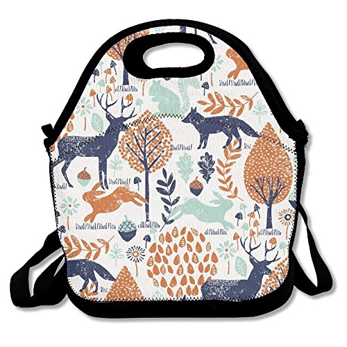 Icndpshorts Elk Rabbit Pine Nut Tree Lunch Bags Lunch Tote Lunch Box Handbag for Kids and Adults