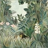 Posterlounge Leinwandbild 50 x 50 cm: Äquatorialer Dschungel von Henri Rousseau - fertiges Wandbild, Bild auf Keilrahmen, Fertigbild auf echter Leinwand, Leinwanddruck