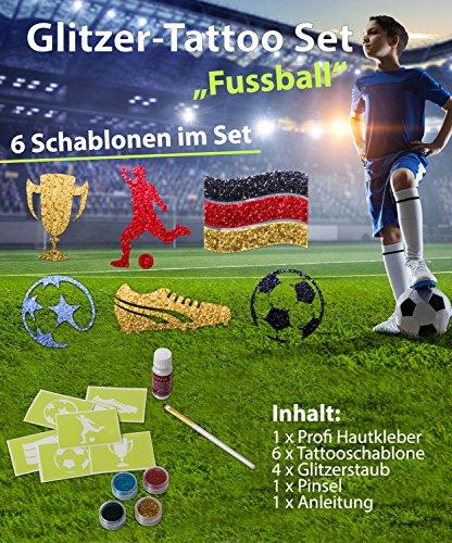 Glitzer Tattoo Set FUSSBALL FUßBALL mit Profikleber, 1x Pinsel, 4x Glitzer, 6x Tattooschablone -