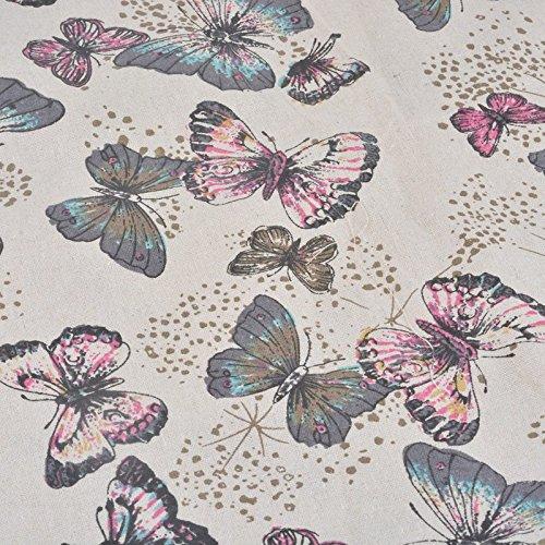Foto de Tela de algodon retro de lino pastel para tapizar sillas descalzadoras para manualidades, costura cojines guirnaldas caravanas escaparates cortinas 1 m x 50 cm .de OPEN BUY