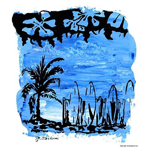 Surf, Strand und Palme für diese surfende Grafik. Surf Dekor auf kunstdruck (Surf-grafik)