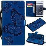Hozor Sony Xperia Z5 Handyhülle, Retro Großer Schmetterling Muster PU Kunstleder Ledercase Brieftasche Kartenfächer Schutzhülle mit Standfunktion Magnetverschluss Flip Cover Tasche, Blau