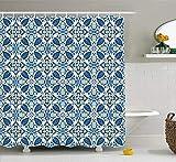 HUAIX Home Tenda da Doccia Gialla e Blu Tegole Tradizionali portoghesi Mosaico Astratto Motivi Floreali a Motivo di ricciolo Decorazione da Bagno in Tessuto con Ganci 60 × 70 Pollici