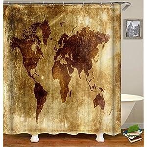 QCWN Cortina de ducha con mapa de animales, mapa de animales del océano para niños y niños con dibujos animados de montaña, imagen de bosques, multicolor