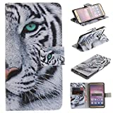 Huawei Honor 8 Case Cover [Anti-Scratch][Waterproof], Cozy Hut Practical Fashionable Creative Retro Patterns PU Folio Leather Wallet Designer Flip Magnetic with [Wrist Strap] and [Card Holder Slot] Shock Absorber Full Body Protection Holster Case Cover Skin Shell for Huawei Honor 8 5.2inch - tiger