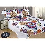 ForenTex- Colcha bouti reversible,(190x260cm cama 90) Estampada cocida- Mandala Rosa Y Lila colcha verano, colcha barata, set de cama, ropa de cama(S-2634)