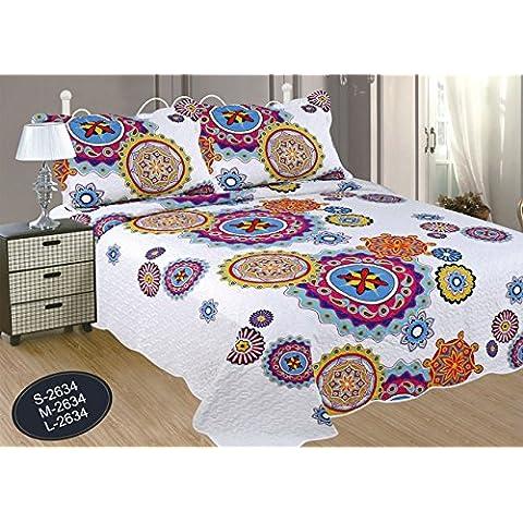 ForenTex- Colcha bouti reversible,(230x260cm cama 135, M-2634) Estampada cocida- Mandala Rosa y Lila colcha verano, colcha barata, set de cama, ropa de cama