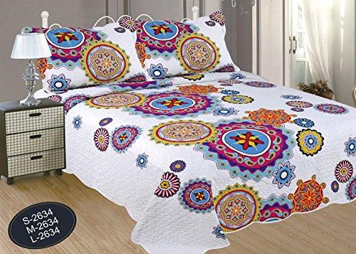 ForenTex- Colcha Boutí reversible, (L-2634), cama 150 cm, 240 x 260 cm, Estampada cosida, Mandala rosa y lila, +2 cojines, colcha barata, set de cama, ropa de cama. Por cada 2 colchas o mantas paga solo un envío (o colcha y manta), descuento equivalente antes de finalizar la compra.