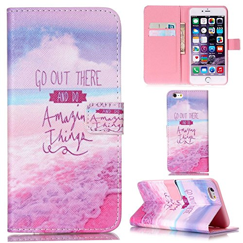 Ooboom® iPhone 5SE Coque PU Cuir Flip Housse Étui Cover Case Wallet Stand avec Carte de Crédit Fentes - Summer Story Go Out There