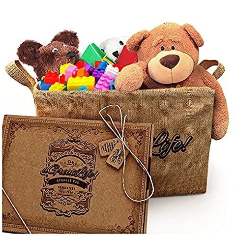Large Jute Storage Basket with Free Bag - Best for Organizing Toys, Baby Clothes, and Children's Books to Achieve a Clutter-Free Home; Durable and Eco-Friendly Storage Bin