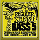 Ernie Ball 2836 Regular Slinky Bass Guitar Strings, 5-String, Yellow
