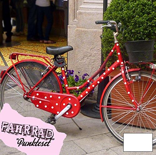 ilka parey wandtattoo welt Fahrradaufkleber Set Punkte dots groß Fahrradsticker Aufkleber Fahrrad Design M681 - ausgewählte Farbe: *Weiß*