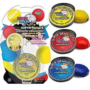 Slimy sl34060 Masilla de Cerebro Super Bounce Series 3 Colores para coleccionar Natural y Seguro no tóxico, Rojo, Azul, Amarillo