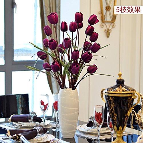 Xin Pang Das Tulip Emulation Blume Silk Blume Künstliche Blumen Blumen Home Decor und Wohnzimmer Bodenvasen, 5 Chi Lai lila Tulpe + White Swan Vasen