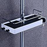 Lyty Verstellbare Duschablage für Shampoo, Conditioner, Seife (kein Bohren, an der Wand zu montieren), 4 Hooks