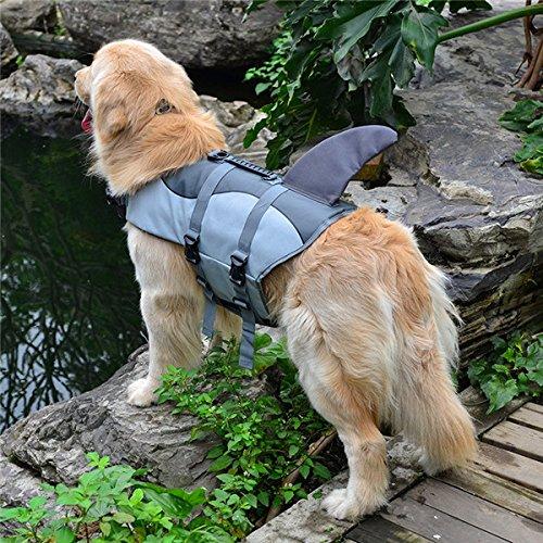 weste Sommer Hunde Schwimmweste Sicherheit Sommer Hund Kleidung niedliche Meerjungfrau Shark Hund Kostüm S/M/L, grau Shark, L ()