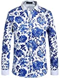 SSLR Herren Blumen Button Down Casual Langarm Hemd (Medium, Blau (HH120))