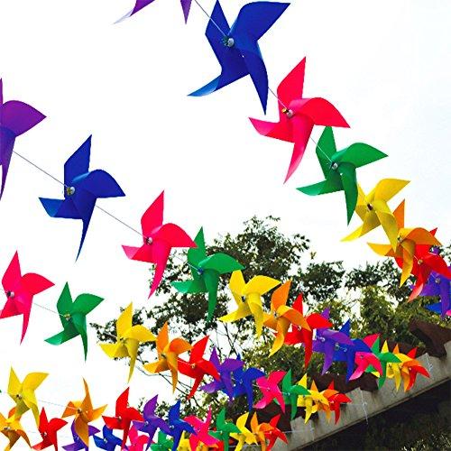 Molinetes de viento de plástico PVC, coloridos, para colgar como banderines, de...